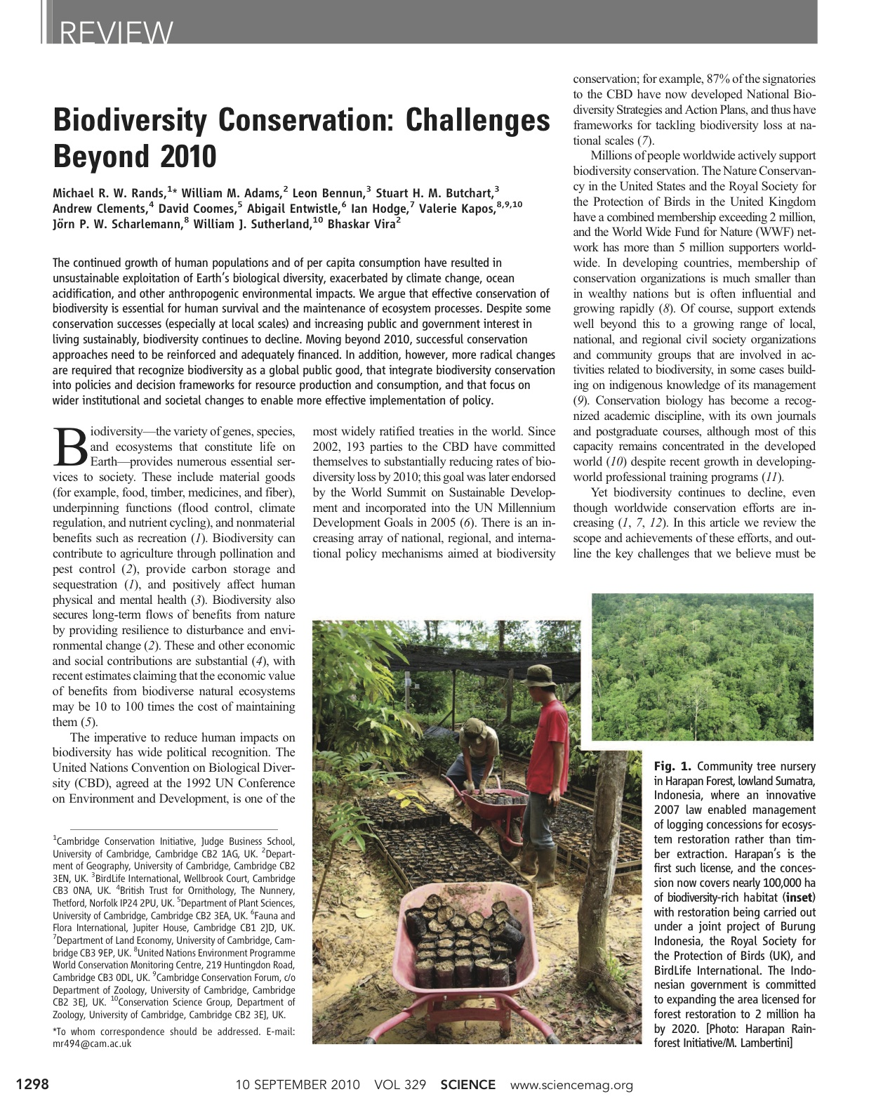 Biodiversity Conservation: Challenges Beyond 2010