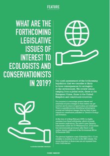 Horizon Scanning: What are the forthcoming legislative issues of interest to ecologists  and conservationists in 2019?